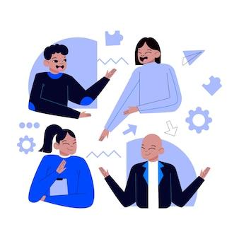 Menschen, die in einem projekt zusammenarbeiten