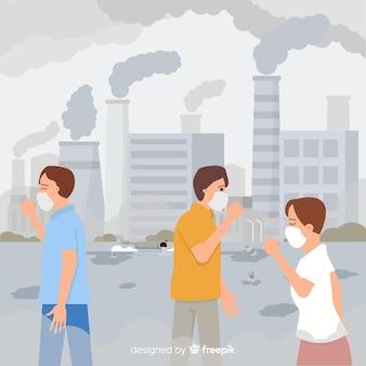 Menschen, die in einer stadt voller umweltverschmutzung leben