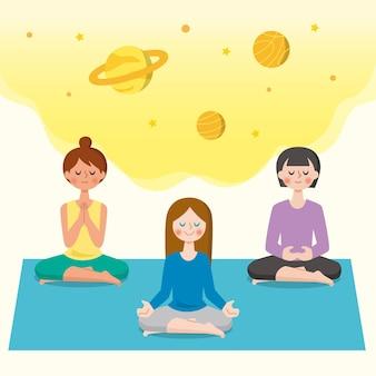 Menschen, die in lotussitz meditieren