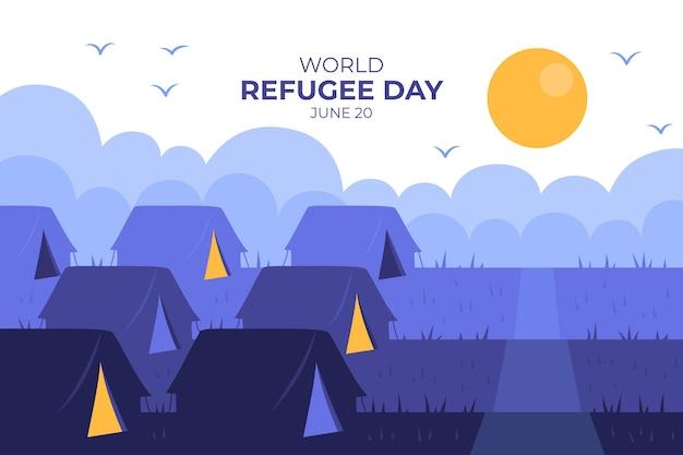 Menschen, die in zelten handgezeichneten flüchtlingstag leben