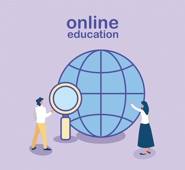 Menschen, die informationen im internet suchen, online-bildung