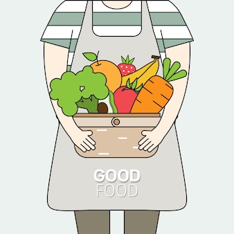 Menschen, die körbe mit frischem bio-obst und gesundem naturgemüse tragen.