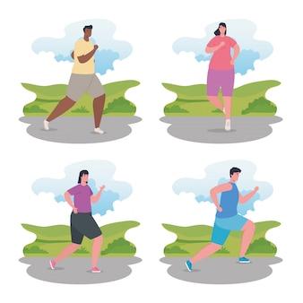 Menschen, die laufen, gruppen, die sportjogging betreiben, frauen und männer, die sport treiben