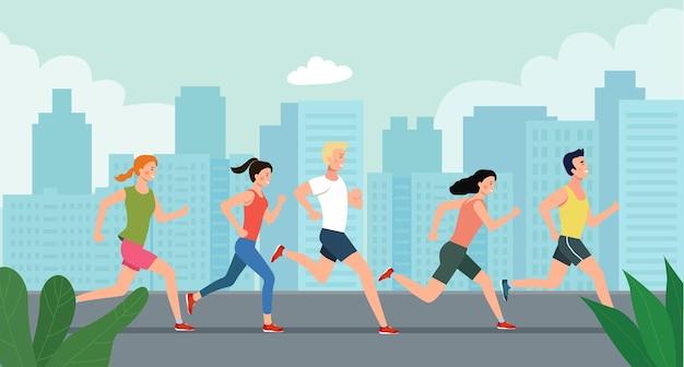 Menschen, die marathon vor dem hintergrund der stadt laufen. vektorgrafik im flachen stil