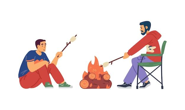 Menschen, die marshmallow am lagerfeuer rösten, flache vektorgrafiken isoliert
