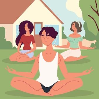 Menschen, die meditation praktizieren