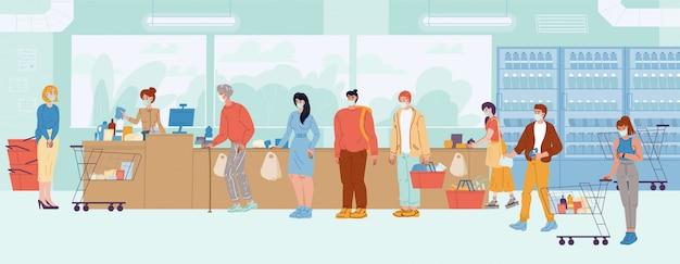 Menschen, die medizinische atemschutzmaskenschlange an der supermarktkasse tragen. tagesablauf, alltagsaktivität. kassierer erhalten zahlung, familienkauf. einkaufszeit. coronavirus-ausbruch