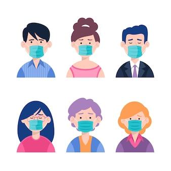Menschen, die medizinische masken tragen