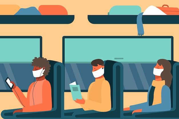 Menschen, die medizinisches maskenthema tragen