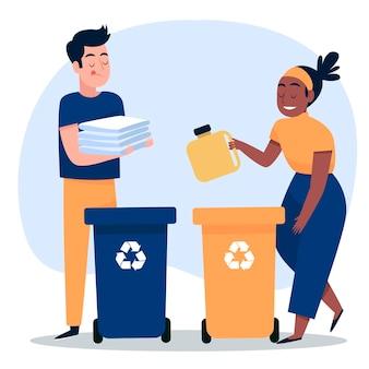Menschen, die mit behältern recyceln