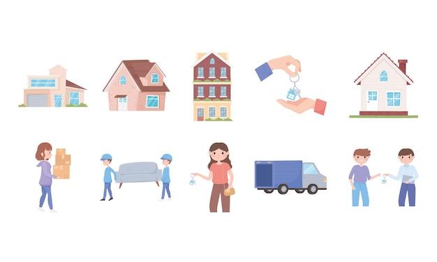 Menschen, die mit dingen, häusern, gebäuden und lastwagen in ein neues haus ziehen