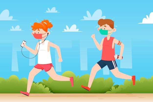 Menschen, die mit medizinischen masken laufen