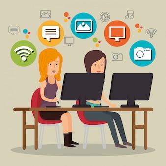 Menschen, die mit social-media-icons arbeiten