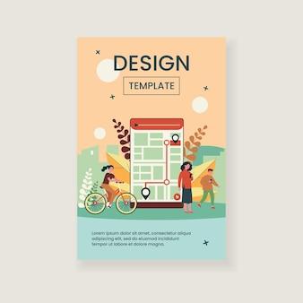 Menschen, die mobile app mit stadtplan zur verfolgung der illustration verwenden Premium Vektoren