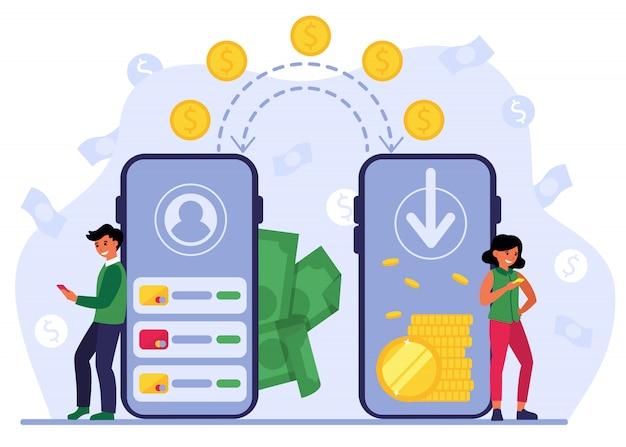 Menschen, die mobile bank für die überweisung von geld verwenden