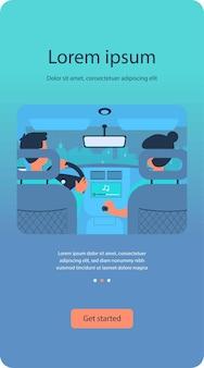 Menschen, die musik hören, während sie mit dem auto reisen