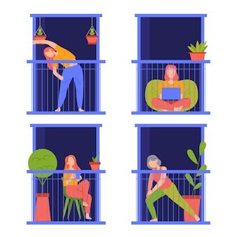 Menschen, die nachts verschiedene aktivitäten auf dem balkon ausführen