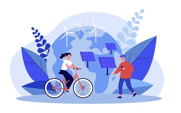 Menschen, die öko-technologie verwenden. mädchen auf fahrrad, mann, der nahe sonnenkollektoren und flacher vektorillustration der windkraftanlagen steht. erneuerbares technologiekonzept für banner, website-design oder landing-webseite