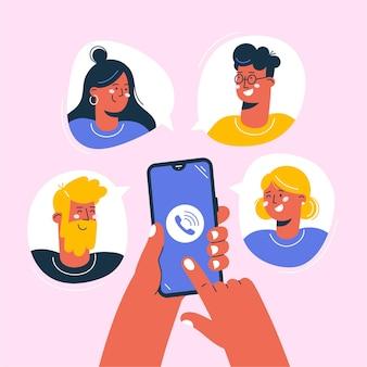 Menschen, die online mit telefonkonferenzen arbeiten oder sich treffen.