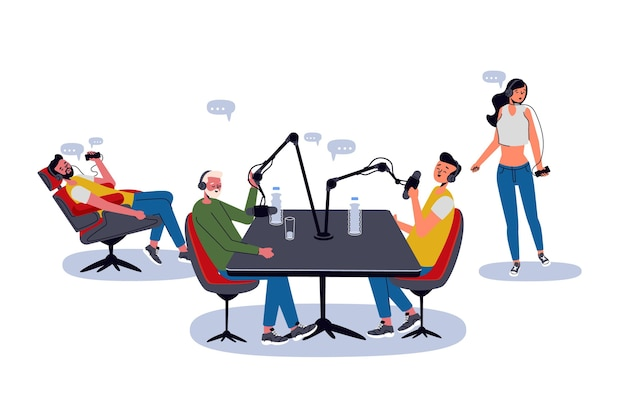 Menschen, die podcasts aufnehmen und anhören