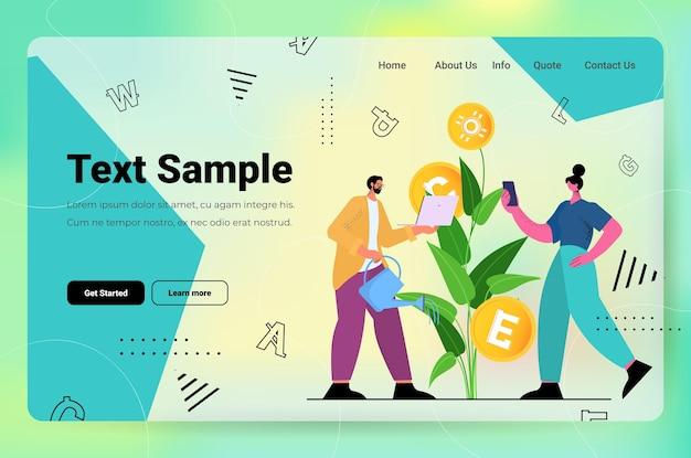 Menschen, die profitablen geldbaum bewässern und kryptowährungs-mining-anwendungen verwenden virtuelle geldtransfer-app banktransaktionen digitales währungskonzept horizontale kopienraum-vektorillustration