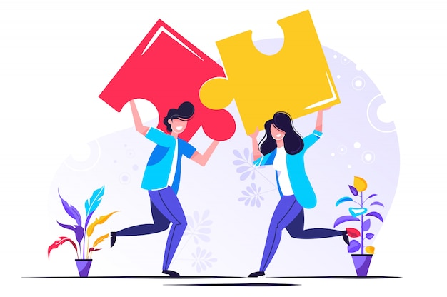 Menschen, die puzzle-elemente verbinden