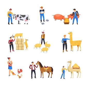 Menschen, die rindertiere züchten. landwirt mann und frau füttern kuh, kaninchen oder schwein und schaf oder ziege mit lama