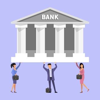 Menschen, die schwierigkeiten haben, mit hypotheken, krediten und schulden zu hause umzugehen, indem sie das bankgebäude auf ihren schultern halten.