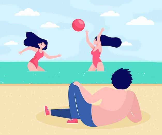 Menschen, die sich am strand entspannen