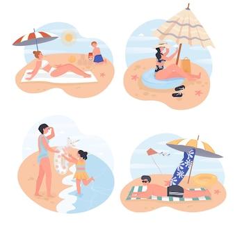 Menschen, die sich auf strandkonzeptszenen entspannen Premium Vektoren