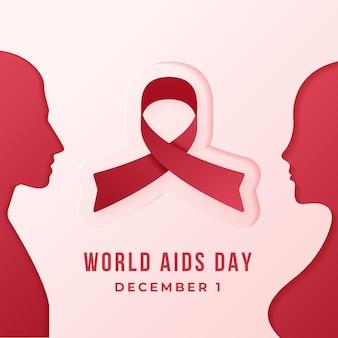 Menschen, die sich im papierstil für aids day ansehen