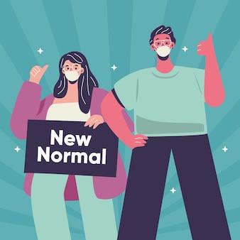 Menschen, die sich positiv der neuen normalität stellen