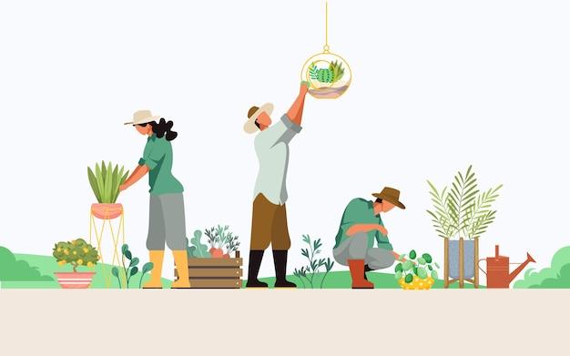 Menschen, die sich um das flache design der pflanzen kümmern