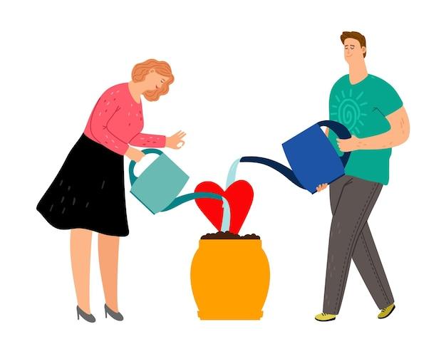 Menschen, die sich um liebe kümmern. mit gießkannen kombinieren und in einen topf pflanzen. isolierte familie oder reizende partnerschaftsvektorillustration