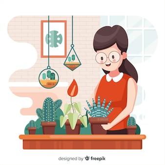 Menschen, die sich um pflanzen kümmern