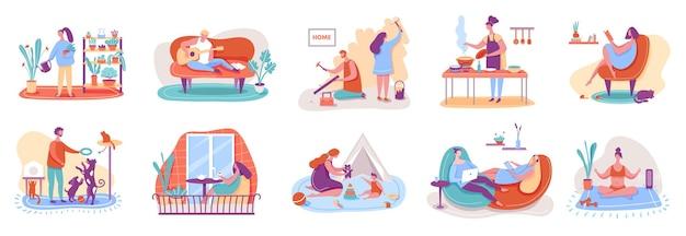 Menschen, die sich zu hause entspannen. mann und frau gießen pflanzen, kochen, lesen bücher, spielen mit haustieren, praktizieren yoga.