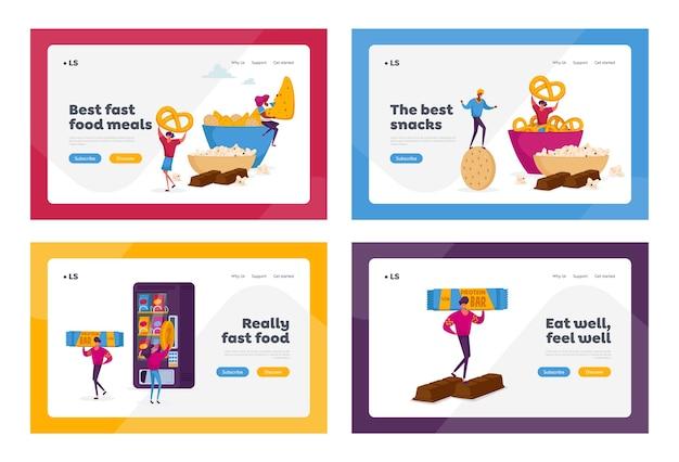 Menschen, die snacks essen fast-food-charaktere, die trockene vorspeisen genießen
