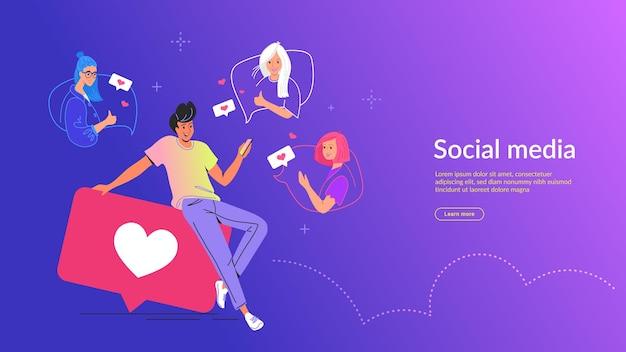 Menschen, die social media-konzept-vektor-illustration verwenden. junger mann, der auf großen blasen mit herzsymbolen sitzt und die mobile app zum senden von sms und zum drücken eines ähnlichen knopfes in sozialen medien und dating-apps verwendet