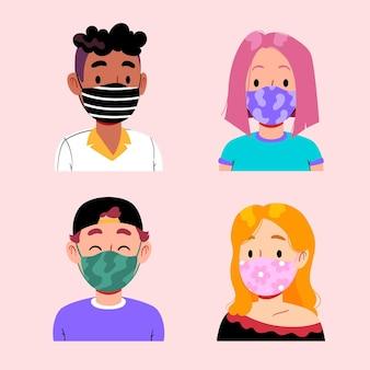 Menschen, die stoffgesichtsmasken tragen