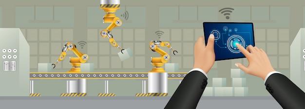 Menschen, die über ein smartphone eine verbindung zu einer fabrik herstellen und daten mit einem neuronalen netzwerk austauschen.
