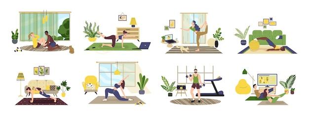 Menschen, die übungen mit hanteln, kniebeugen, yoga machen. mann, frau, familie beim sport zu hause