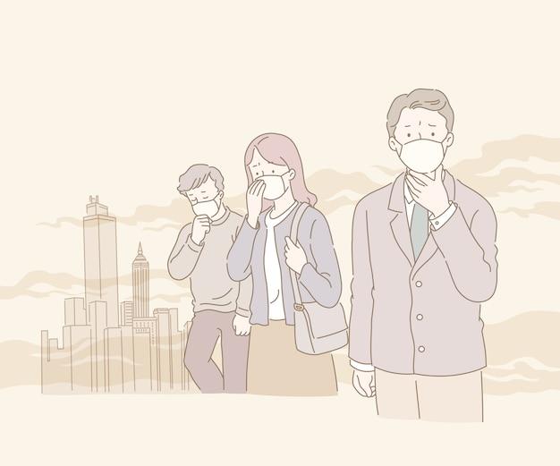 Menschen, die unter smog und luftverschmutzung in der linienartillustration leiden