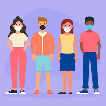 Menschen, die verschiedene gesichtsmasken tragen