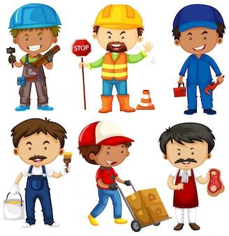 Menschen, die verschiedene jobs auf weiß