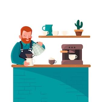 Menschen, die verschiedene kaffeemethoden herstellen