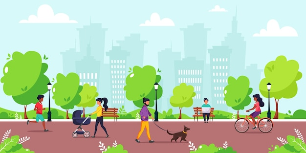 Menschen, die verschiedene outdoor-aktivitäten im park machen. laufen, radfahren, mit dem hund spazieren gehen, mit kinderwagen spazieren gehen. konzeptillustration des gesunden lebensstils.