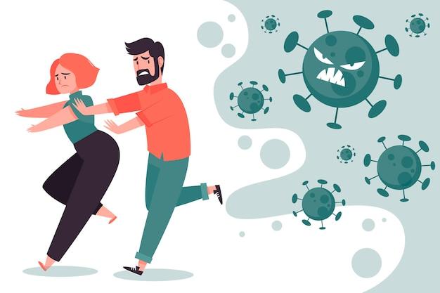 Menschen, die vor coronavirus-partikeln davonlaufen