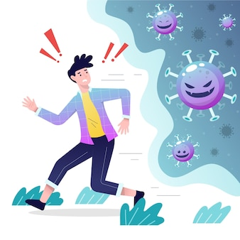 Menschen, die vor coronavirus-partikeln fliehen