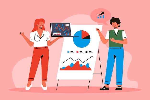 Menschen, die wachstumscharts analysieren