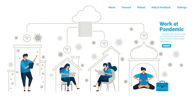 Menschen, die während der neuen normalen pandemie in ihren häusern mit cloud-server- und rechenzentrumstechnologie arbeiten. illustrationsdesign von landingpage, website, mobilen apps, poster, flyer, banner